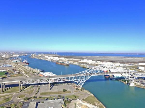 Looking west past the Corpus Christi Harbor Bridge towards the Inner Harbor at Port Corpus Christi from the south side of the Corpus Christi Ship Channel
