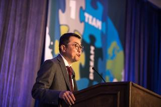 David Li, general manager CIMC Vehicle Speaking at CIMC Vehicle Annual Trailer Seminar