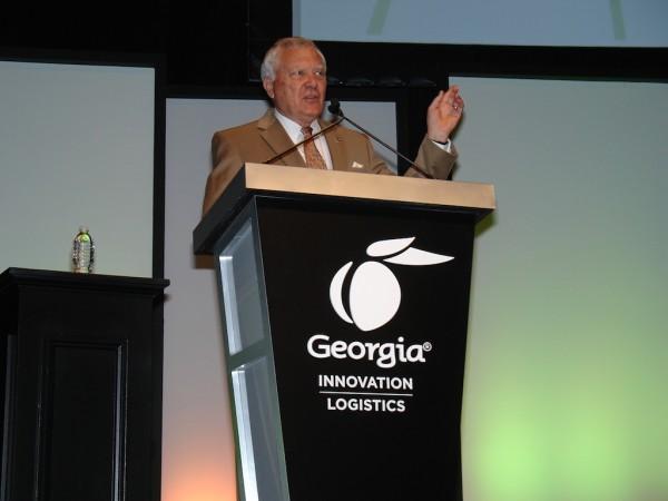 Georgia Gov. Nathan Deal addresses the Georgia Logistics Summit in Atlanta. (Photo by Paul Scott Abbott, AJOT)
