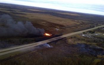 A tanker train carrying flammables after it derailed in Gainford, Alberta.Handout/Royal Canadian Mounted Police/AP
