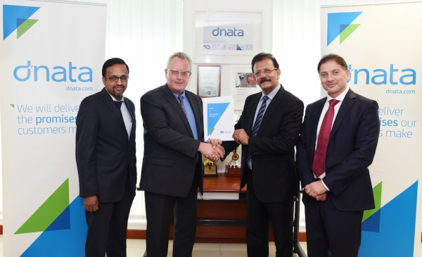 From left to right: Ashok Rajan, SVP & Head of Airline Cargo Services, IBS, Bernd Struck – Senior Vice President UAE Cargo & DWC Airlines Services, dnata, V K Mathews, Executive Chairman of the IBS Group , Rosario Marino, Senior Vice President International Airport Operations, dnata