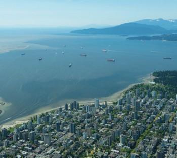 Aerial view of English Bay at Vancouver, BC