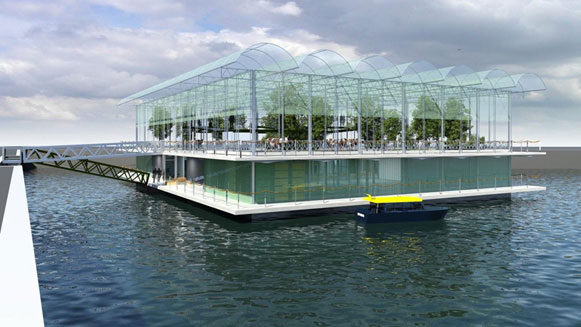 Artist conception of the floating farm -with cows- being built at the Port of Rotterdam (Courtesy: Beladon)