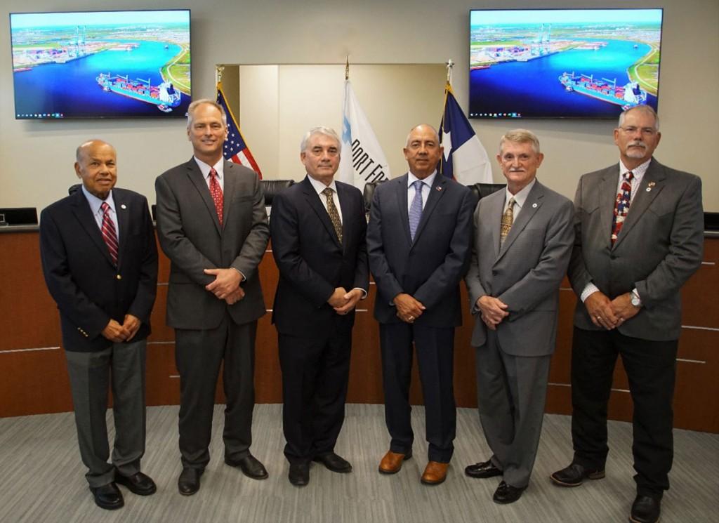 Port Commission (L to R): Ravi Singhania, Commissioner; Rob Giesecke, Assistant Secretary; John Hoss, Chairman; Rudy Santos, Vice Chairman; Dan Croft, Secretary; Shane Pirtle, Commissioner