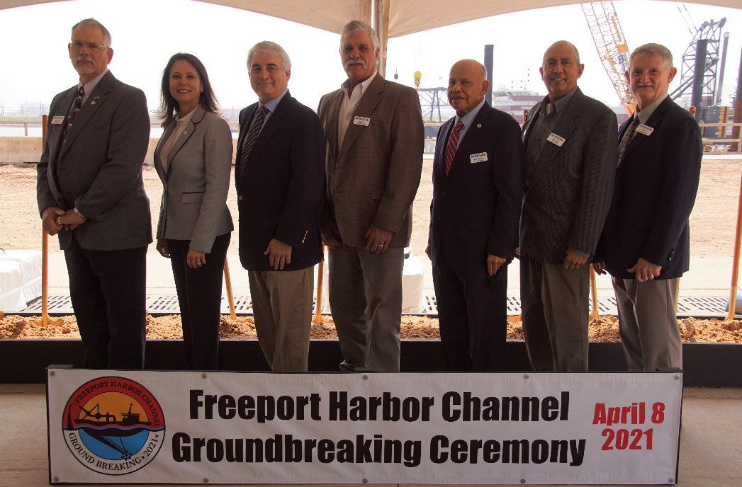 Port Freeport celebrates the groundbreaking of the Freeport Harbor Channel Improvement Project. Left to right: Shane Pirtle, Commission Chairman; Phyllis Saathoff, Executive Director/CEO; John Hoss, Commissioner; Paul Kresta, Commissioner; Ravi Singhania, Commissioner; Rudy Santos, Commissioner; Dan Croft, Commissioner
