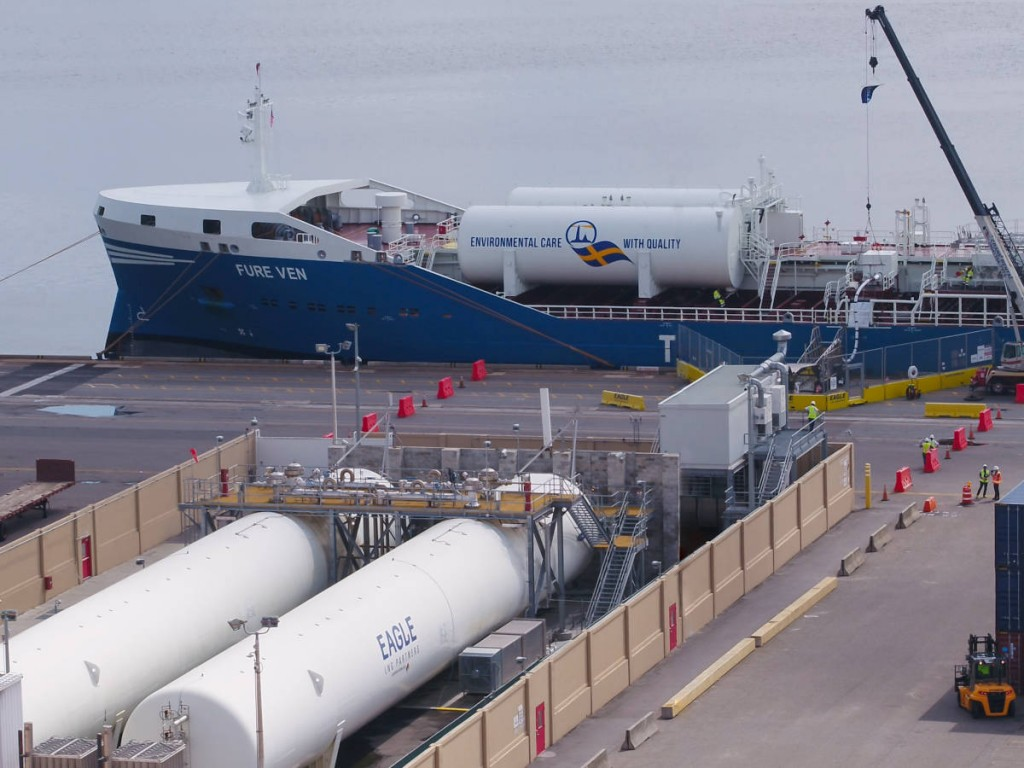 FURE VEN takes on LNG fuel at Eagle LNG's Talleyrand Bunker Station in Jacksonville, United States