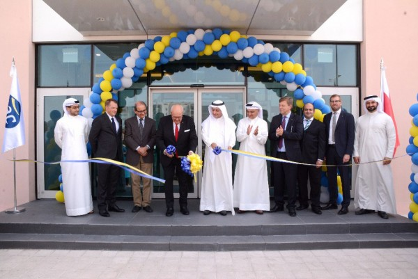 Ribbon cutting ceremony during GAC Bahrain's new warehouse and office building opening.