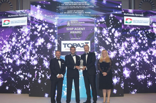 Fredrik Nyström, Group Vice President – Middle East, GAC Group, is presented with the Ship Agent Award by Rene Kofod-Olsen, CEO Topaz Energy and Marine, Andrew Williams, Aviation and Seatrade Group Director, Seatrade and Emma Howell, Group Marketing Manager, Seatrade.