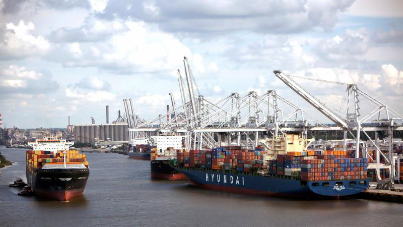 In February, the Port of Savannah moved 330,539 twenty-foot equivalent container units.