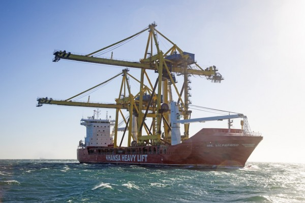 HHL Valparaiso is the first vessel to sail open hatch through the Northern Sea Route, as it delivers two giant ship-to-shore (STS) cranes across Russia.