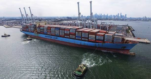 Maiden call of Soroe Maersk at VICT
