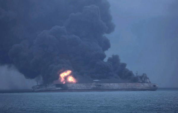 The oil tanker 'Sanchi' on fire after a collision on Jan. 7. Source: South Korea Coast Guard/EPA