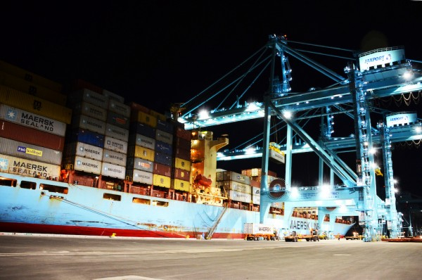 Three new container cranes at the Jacksonville Port Authority's Blount Island Marine Terminal work Maersk Line's Sea-Land Comet.