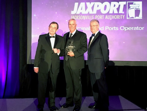 JAXPORT's Executive Vice President and Chief Commercial Officer Roy Schleicher (center) accepting the 2017 Terminals and Ports Operator award from Automotive Global Awards