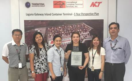 Bureau of Customs (BoC) certifies Laguna Gateway Inland Container Terminal (LGICT) as an authorized Off-Dock Customs Facility (OCF). Photo shows (from left) LGICT officers with the dry port's BoC OCF certificate: Manuel Mayo, Safety and Pollution Officer; Airene Calaluan, Finance Head; Annie Magsino, Administration and Human Resources Head; Carmela Rodriguez, General Manager; Michelle Mendoza, Accounting Officer; and Mike Santos, Sales and Marketing Manager.