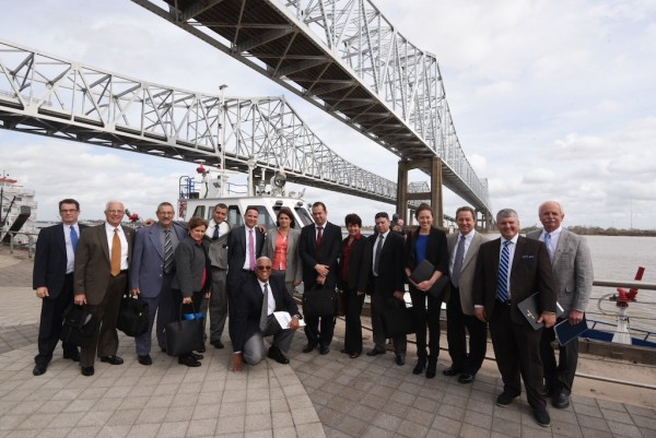 The seven-member delegation of trade ambassadors from Cuba is joined by Port of New Orleans officials and Louisiana trade representatives for a harbor tour of the Port's facilities Wednesday, Jan. 25, 2017.
