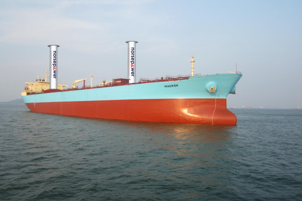 Maersk P-Class Illustration with two 30x5 Norsepower Rotor Sails