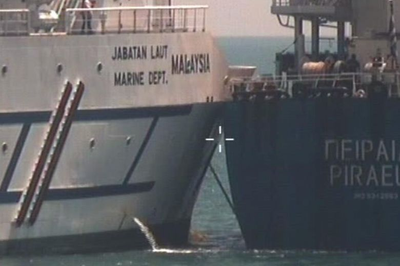 Greece-registered bulk carrier Pireas was on its way from Singapore to its next port of call at Tanjung Pelapas, Malaysia, when the collision took place at 2.28pm on Feb 9, 2019.PHOTO: SINGAPORE POLICE FORCE