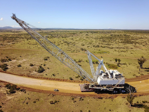 he Dragline on its way in coal mining Isaac Region, Queensland, Australia.