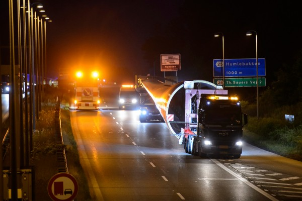 The world's longest blade hitting the road for the first time. Photo credit: Rene Schütze