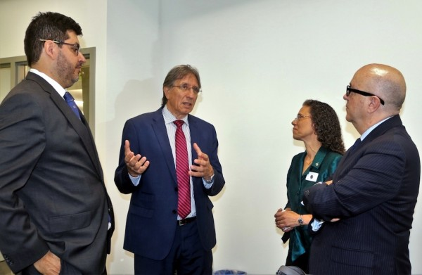 Discussing trade opportunities at a North Port symposium are, from left: Chilean Trade Commissioner Sacha Garafulic; Ivan Mutis, coordinator of the International Trade Hub at Port Manatee; North Port Vice Mayor Linda Yates; and Port Manatee Executive Director Carlos Buqueras.