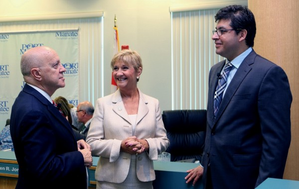 Chilean Trade Commissioner Sacha Garafulic, right, chats about trade growth opportunities with, from left, Port Manatee Executive Director Carlos Buqueras and Manatee County Port Authority Chairwoman Vanessa Baugh.