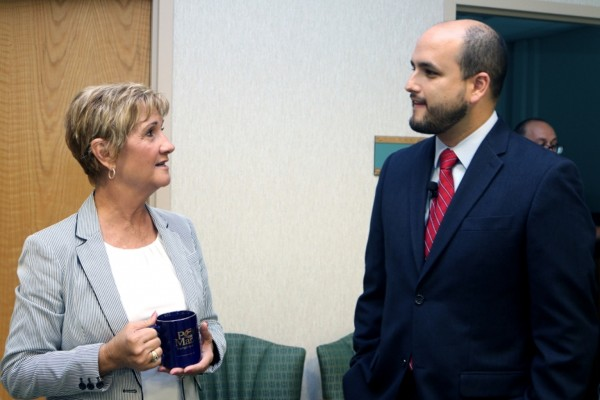Manatee County Port Authority Chairwoman Vanessa Baugh, left, discusses trade opportunities with Juan C. Barrera, general deputy director for the United States of ProColombia USA.