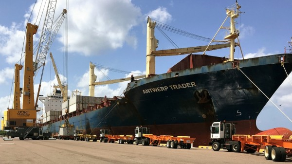 At Port Manatee, containerized cargo is offloaded from a Del Monte Fresh Produce vessel, adding to the record container volume the port is experiencing in its current fiscal year.