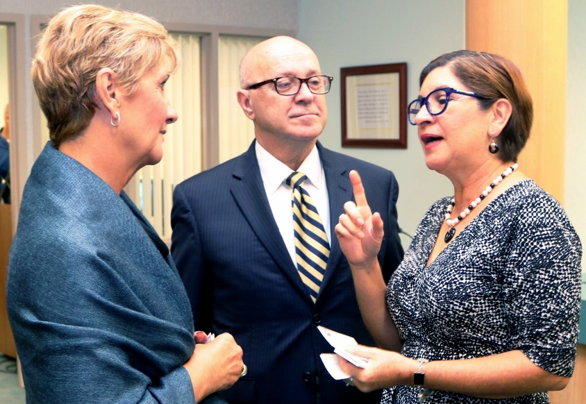Guatemalan Trade Commissioner Dunia Miranda-Mauri, right, talks about expanding trade ties with, from left, Vanessa Baugh, chairwoman of the Manatee County Port Authority, and Carlos Buqueras, executive director of Port Manatee.