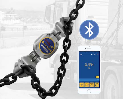 Crosby Straightpoint's ChainSafe is a new Bluetooth wireless tension load cell for measuring forces in lifting and lashing applications, pictured with Crosby chain shorteners.