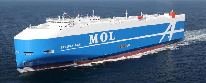 Specifications of Beluga Ace: Length: 199.9m, Breadth: 32.2m, Capacity: 6,800 units (standard passenger vehicles)