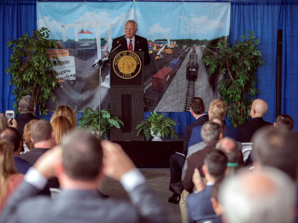 ov. Nathan Deal speaks during the announcement for the Georgia Ports Authority's new inland terminal, Monday, Dec. 3, 2018, in Gainesville, Ga. Cargo moved via the Northeast Georgia Inland Port near Gainesville will reduce Atlanta truck traffic by shifting containers to rail. Set to open in 2021, the new inland port will be operated by the Georgia Ports Authority and served by Norfolk Southern.
