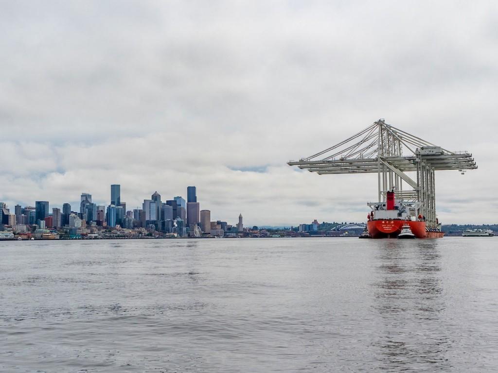 Four ZPMC Super-Post Panamax Cranes on their journey through the Puget Sound to Elliott Bay