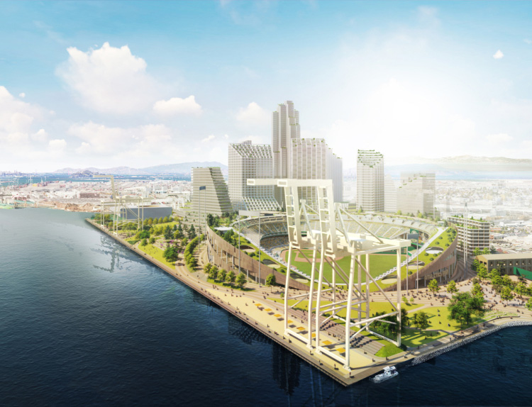 The Howard Terminal site and the proposed ballpark are shown in a rendering supplied by the Oakland A's. (Courtesy of Oakland A's)