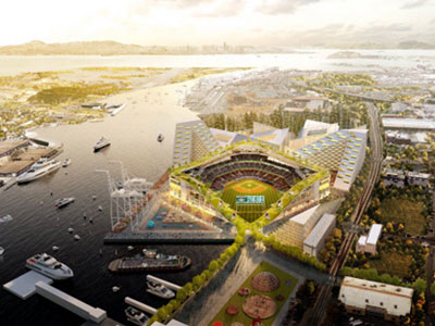 A rendering of the proposed Oakland A's ballpark at Howard Terminal shows pleasure boats near the navigational channel for container ships and the turning basin adjoining the proposed ball park used to dock ships (Rendering courtesy: BIG).