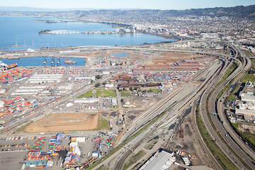 Port of Oakland with rail and road connections
