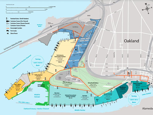Oakland International Container Terminal (OICT) is located on the north side of the Oakland Estuary. The Turning Basin is circled and is at the right side of the map. Howard Terminal is the innermost terminal in green at the right and adjoins the Turning Basin. (Source: Port of Oakland)