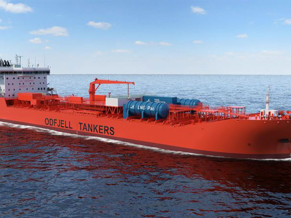 Illustration of the fuel cell solution mounted on board an Odfjell ship. Photo: Odfjell