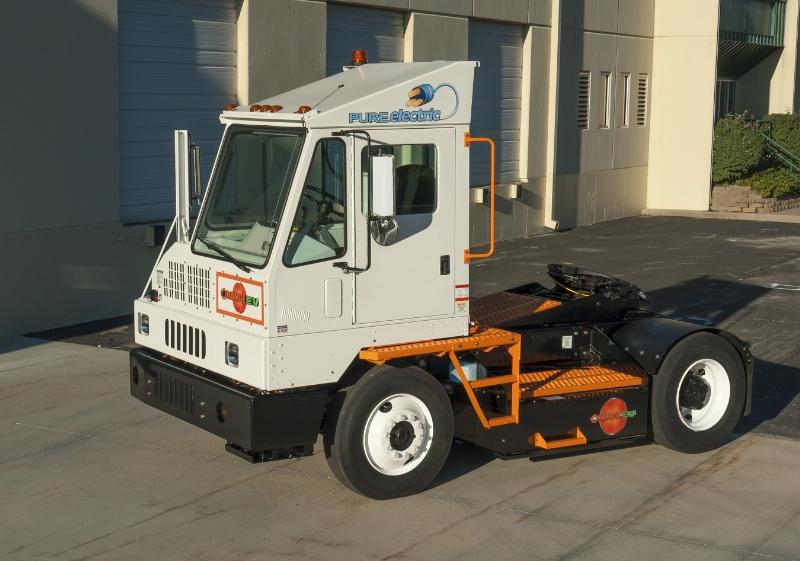 Orange EV electric terminal truck