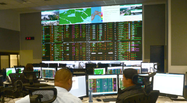 A view from inside the Panama Canal's Marine Traffic Control Center, responsible for the scheduling, coordination and monitoring of vessel traffic through the Panama Canal.