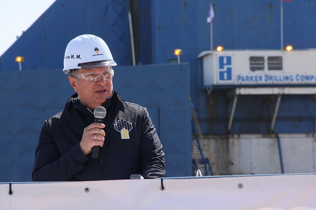 Igor Sechin at start of production drilling at Northern Caivo Field in Sakhalin Island Russia.