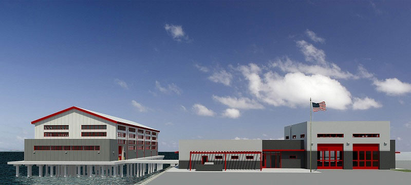 A rendering of the Fireboat Station 15 project at the Port of Long Beach.