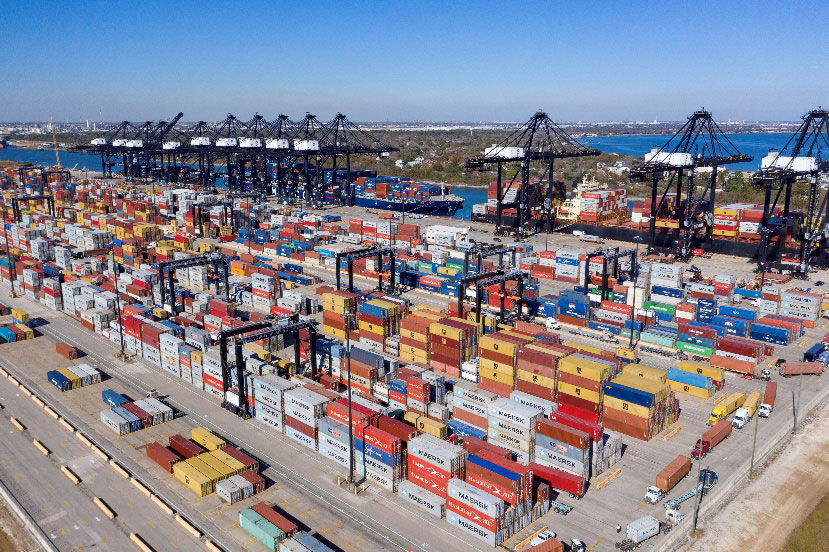 Containers on the move at Port Houston's Bayport Container Terminal