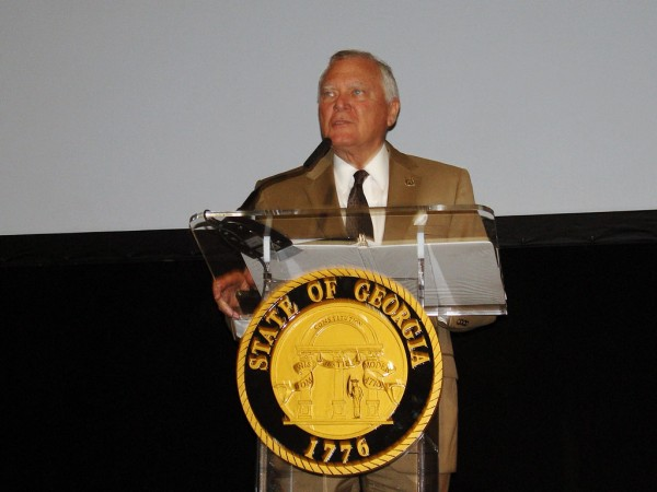 Georgia Gov. Nathan Deal proudly discusses the role of the Port of Savannah in drawing industrial development to Georgia. (Photo by Paul Scott Abbott, AJOT)