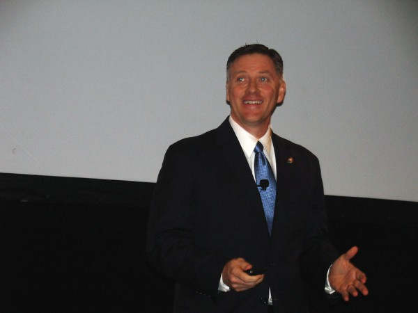 Griff Lynch, executive director of the Georgia Ports Authority, enthusiastically delivers his state of the port address at the Savannah International Trade and Convention Center. (Photo by Paul Scott Abbott, AJOT)