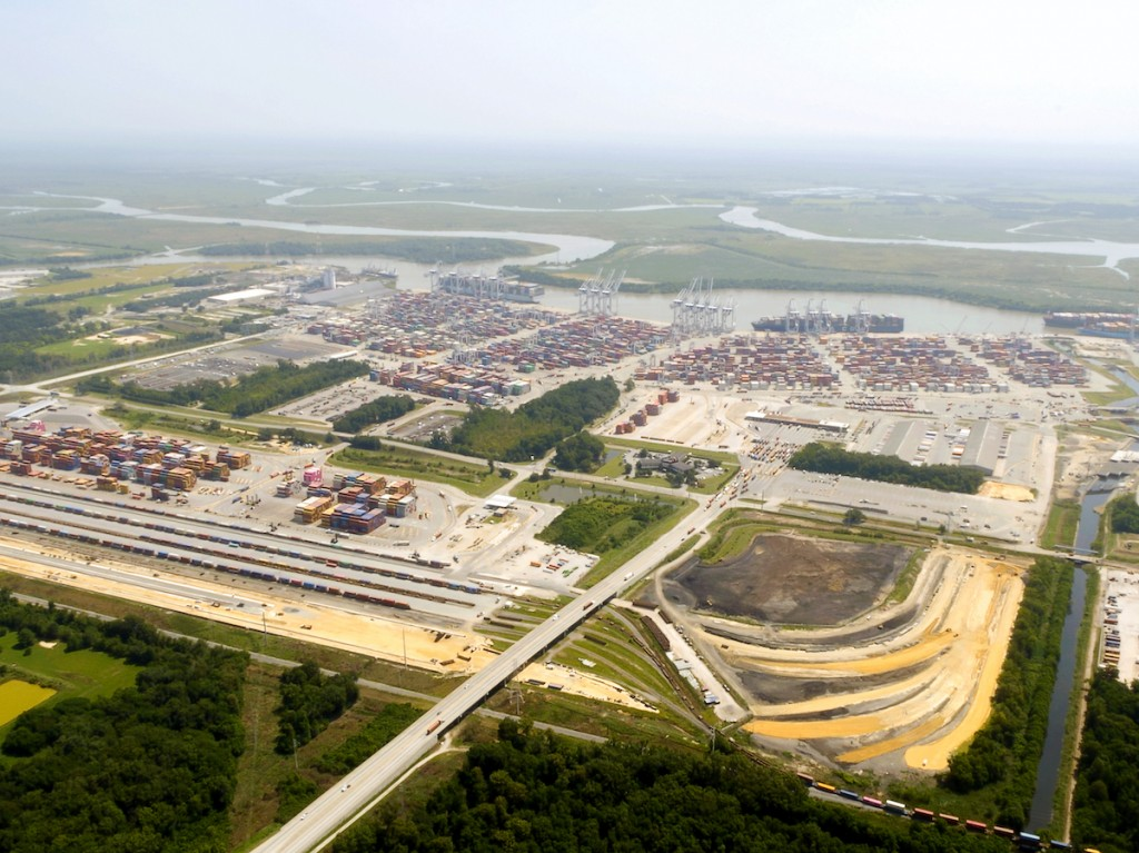 Construction on the Port of Savannah's Mason Mega Rail project is 40 percent complete. The expanded terminal will double rail lift capacity at Garden City Terminal to 1 million containers per year.