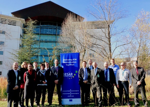 Pictured are delegates from the European Commission (EC) and the Innovation and Network Executive Agency (INEA) visiting the Marseille Air Traffic Control Centre (ACC) in France.