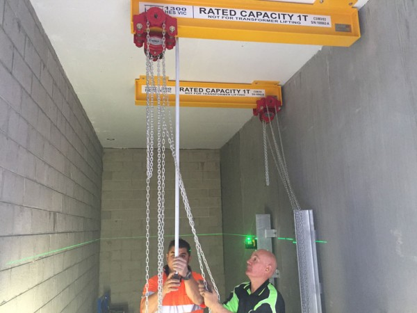 HES installed two monorail crane systems at an electrical substation.