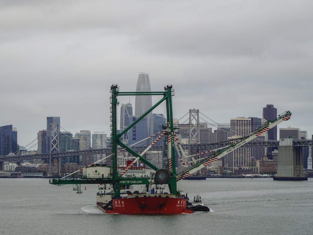 The new ship-to-shore crane on its way to the Port of Oakland