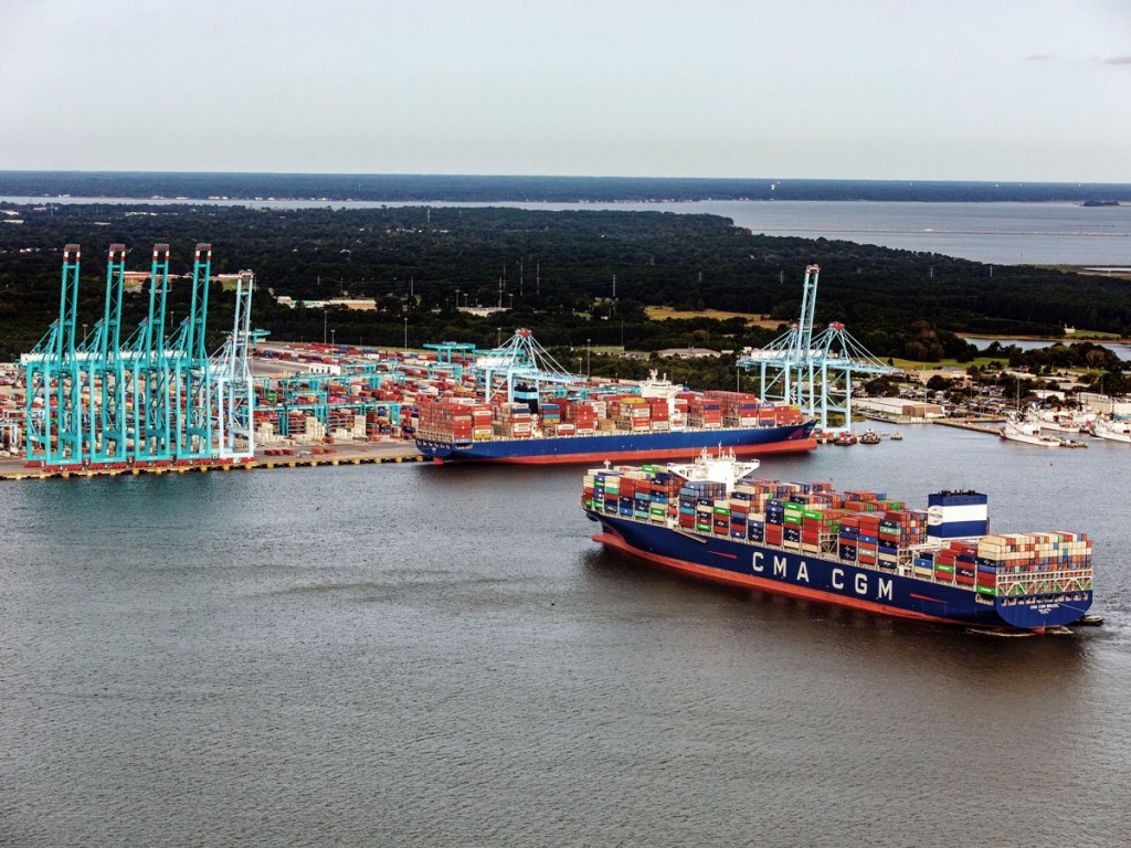 The Port of Virginia now offers six berths capable of accommodating ultra-large container vessels, such as the CMA CGM Brazil, the largest boxship to ever dock on the U.S. East Coast, with a capacity of 15,072 twenty-foot-equivalent units.